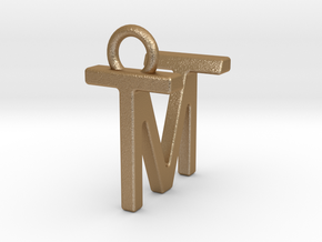 Two way letter pendant - MT TM in Matte Gold Steel
