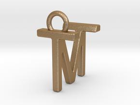 Two way letter pendant - MT TM in Matte Gold Steel