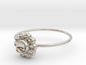 Size 6 Shapes Ring S4 in Rhodium Plated Brass