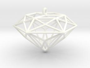Diamond Ornament in White Processed Versatile Plastic