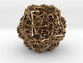 Cube 30 Compound -wireframe in Natural Brass