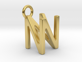 Two way letter pendant - NN N in Polished Brass