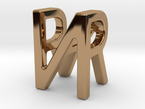 Two way letter pendant - NR RN in Polished Brass