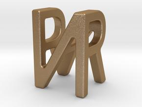 Two way letter pendant - NR RN in Matte Gold Steel