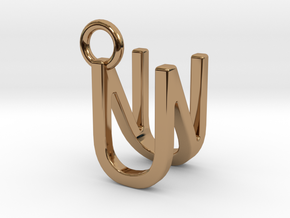 Two way letter pendant - NU UN in Polished Brass