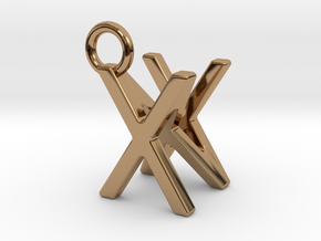 Two way letter pendant - NX XN in Polished Brass