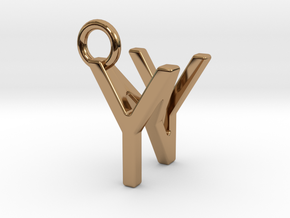 Two way letter pendant - NY YN in Polished Brass