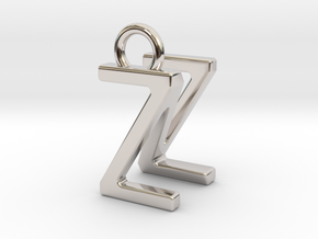 Two way letter pendant - NZ ZN in Rhodium Plated Brass