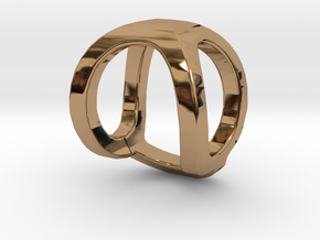 Two way letter pendant - OQ QO in Polished Brass