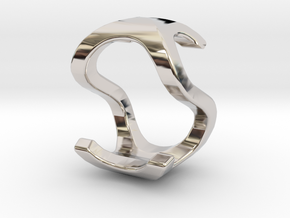 Two way letter pendant - OS SO in Rhodium Plated Brass
