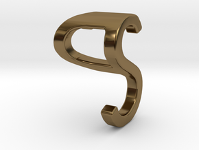 Two way letter pendant - PS SP in Polished Bronze