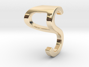 Two way letter pendant - PS SP in 14k Gold Plated Brass