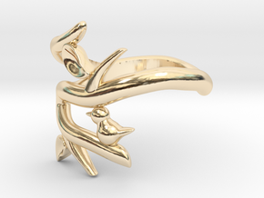 Bird on a Branch Ring in 14k Gold Plated Brass: 5 / 49