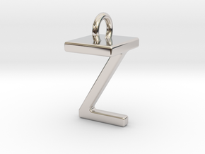 Two way letter pendant - TZ ZT in Rhodium Plated Brass