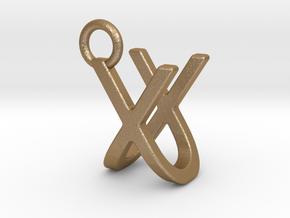 Two way letter pendant - UX XU in Matte Gold Steel