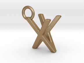 Two way letter pendant - VX XV in Matte Gold Steel
