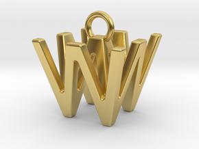 Two way letter pendant - WW W in Polished Brass