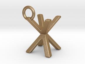 Two way letter pendant - XX X in Matte Gold Steel