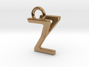 Two way letter pendant - YZ ZY in Polished Brass