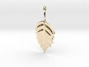 Birch Leaf Pendant in 14k Gold Plated Brass