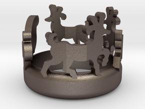 Weihnachtsring mit Rentieren und Schlitten  in Polished Bronzed Silver Steel