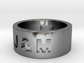 Freunschaftsring J & M in Polished Silver