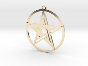 Pentacle Pendant in 14k Gold Plated Brass