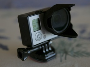 Sun hood and 37mm filter holder for GoPro in Black Strong & Flexible