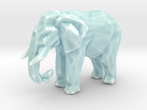Porcelain Poly Elephant in Gloss Celadon Green Porcelain