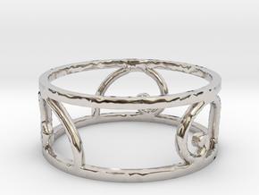 Golden Spiral Ring Size 7 (3 normal spirals) in Rhodium Plated Brass
