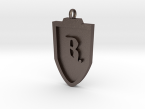 Medieval R Shield Pendant in Stainless Steel