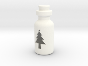 Small Bottle (Christmas Tree) in White Strong & Flexible Polished