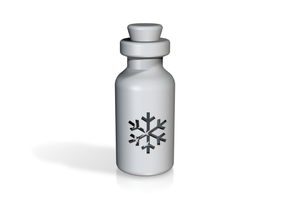 Small Bottle (snowflake) in White Strong & Flexible Polished