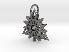 Steam Punk Gear Charm in Polished Nickel Steel