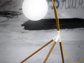 BROOM STICK FLOOR LAMP in White Natural Versatile Plastic