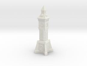 TT Gauge - Victorian Clock Tower in White Natural Versatile Plastic