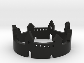 Walled Town Ring in Black Natural Versatile Plastic