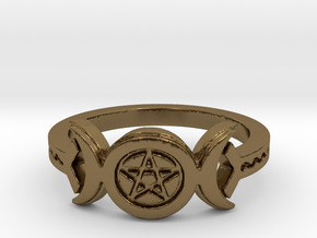 Triple Moon Pentacle Decorated Band Ring Size 8 in Polished Bronze