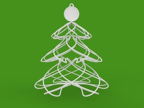 Twisted tree Christmas ornament in White Natural Versatile Plastic