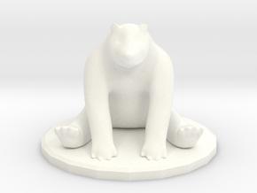 Sitting Bear Miniature  in White Processed Versatile Plastic