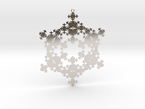 Snowflake Fractal 1 Customizable in Rhodium Plated Brass