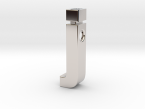 j pendant in Helvetica font in Rhodium Plated Brass