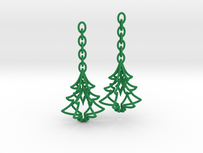 Christmas Tree Star Earrings in Green Strong & Flexible Polished