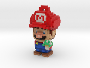 Super Plumber Red Bro Voxel Ornament in Full Color Sandstone