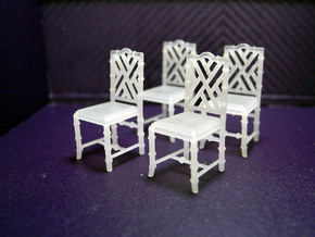 1:48 Chinese Chippendale Chair - Set of 4 in Smooth Fine Detail Plastic