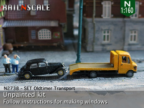SET Oldtimer Transport (N 1:160) in Smooth Fine Detail Plastic