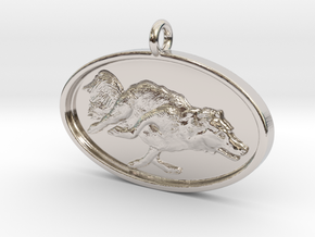 """Agility Dog Pendant - 1 1/4 """" Border Collie. in Rhodium Plated Brass"""