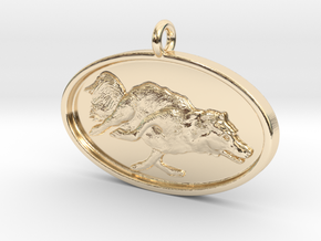 """Agility Dog Pendant - 1 1/4 """" Border Collie. in 14K Yellow Gold"""