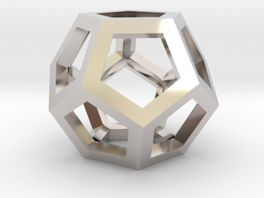 Dodecahedra, 1 Inch, 5 sided sections - smpl matrl in Rhodium Plated Brass