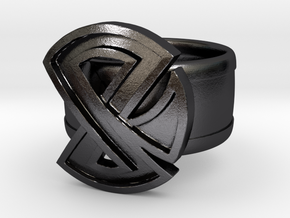 Restraint Ring in Polished and Bronzed Black Steel: 8 / 56.75